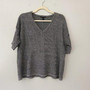 Eileen Fisher Black White Organic Linen Knit Top